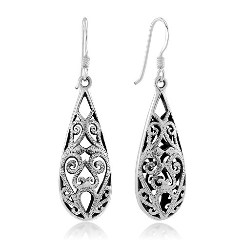 283bf4ece 925 Sterling Silver Bali Inspired Open Filigree Puffed Teardrop 1.5 inch Dangle  Hook Earrings