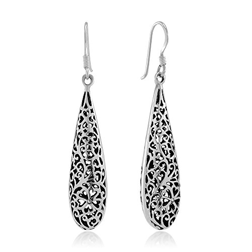 101579f41 925 Sterling Silver Bali Inspired Open Flower Filigree Long Puffed Teardrop Dangle  Hook Earrings